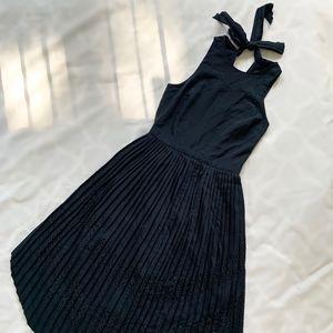 Banana Republic Petite Pleated Dress - Navy Blue
